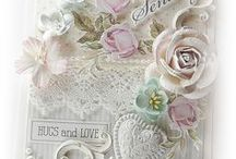 """Cards: Shabby Chic / Handmade cards with a """"Shabby Chic"""" style are very close to """"Vintage"""" cards. """"Shabby Chic"""" refers to a discreet neglected elegance. """"Shabby Chic"""" can be """"new"""" but well worn. Vintage refers always to old pieces. Both styles refer to distressed, well used, torn... the difference can be found in the use of the embellishments and textures (lace, ribbons, pearls etc). """"Shabby Chic"""" can be more """"feminine"""" and the colors are lighter (more white and light cream) and soft (pastels) than Vintage."""