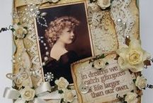 """Cards: Vintage Style / Handmade cards with a """"Vintage"""" style are very close to """"Shabby Chic"""" cards. Vintage refers to old and nostalgic memorabilia. It  calls to mind to a particular era. Vintage has more of a """"retro"""" style. Both styles are old, distressed, well used, torn, but the difference can be accentuated  in the use of the embellishments and textures (wood, metal, crochet etc). """"Vintage"""" can be more """"manly"""" and the colors more """"dark"""" than Shabby Chic."""