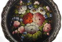 """Ideas: Zhostovo / This board is about Russian decorative painting using acrylics. """"Zhostovo"""" is a handicraft done in metal; """"Gshel"""" painting is traditionally made in blue tones"""
