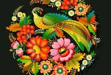 Ideas: Petrykivka / Traditional decorative painting style, 17th century, from the village of Petrykivka in Ukraine. Used to decorate walls & household items; Today this art is found on wood, porcelain, textiles & paper. The distinctive features of this folk art style are its colorful flower patterns, lush foliage, birds and brush techniques.  Its most known representative was Tatiana Pata, founder of the Petrykivka school of art in 1935, no longer in existence. It has often been a family craft carried by womans.