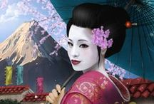 the beauty of the land of the rising sun!! / geisha define amazing beauty! the art of make up! gorgeous kimonos!wonderful art paintings and landscapes!marvelous colors!