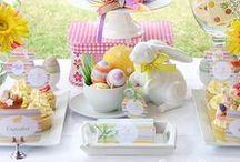 Pâques / images sur la fête de Pâques : oeufs en chocolat, oeufs décorés, décoration de pâques, lapins