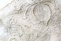 linens, including vintage and antique / beautiful bed linens, table linens, bath accessories