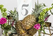 Styled Shoot: Let's Have A Pineapple Party! / This wedding photoshoot is inspired by the summer spirit! We loved pairing our 'All that Glitters' wedding stationery with some tropic vibrance. Credits: My Vintage Flower // Amanda French Flowers // Eleanor Jane Photography //