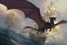 Dragon : Western / Depicted with four feet, a serpentine neck and tail and wings, most commonly bat wings but also bird wings on occasion. Capable of speech and as intelligent as a human, if not more.  / by Albus Weka