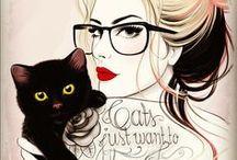 mujeres y gatos