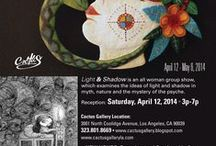 Light & Shadow, April 2014 at Cactus Gallery / Cactus Gallery is pleased to present Light and Shadow, featuring multimedia works by twelve female artists. Our featured artist is Ulla Anobile. Light and Shadow examines the ideas of light and shadow in myth, nature and the mystery of the psyche. An eclectic collection of mediums: paper mache, oil on canvas and wood, mixed media on canvas, paper cut, acrylic on wood, graphite, textile and ceramics. Show runs April 12 - May 8, 2014. Contact Sandra at semastroianni70@yahoo.com for purchase info.  / by Cactus Gallery