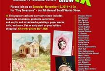 Tiny Treasures IX, Dec 2014 at Cactus Gallery / Small works exhibit. New works will be added weekly, so check this page often. More than 30 artists. Media include acrylics on canvas and wood, watercolors, handmade ornaments, pendants and cameos, art dolls, paper mache, paper cut outs, graphite on paper, sculpture, and more!  This is a cash and carry show and all artwork can go home on the day of the exhibit. Wall of Walt Hall panels. All works in the show $10-100! To visit or for pre-sale info, contact Sandra at semastroianni70@yahoo.com.