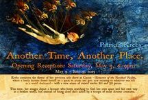 "Patricia Krebs 8th Annual Solo Show / ""Another Time, Another Place"" is Patricia Krebs' 8th solo show for Cactus Gallery. For this exhibit, which will feature 20 new mixed media works, our lonely, yet fearless, heroine is joined by a troupe of diverse creatures who aid her in her search to find her way in a broken world. Show runs May 9 - June 9, 2015. Contact Sandra at semastroianni70@yahoo.com for purchase info. / by Cactus Gallery"
