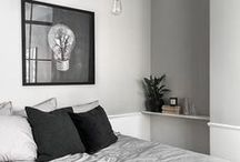 Grey Comforts / Bedrooms, living rooms and bath rooms in grey tones and gorgeous soft furnishings