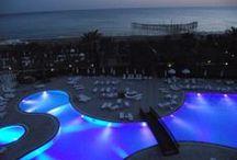 Swimming Pools at Night / #nightswim #swimmingpool #landscapearchitecture #poolconstruction #poolbuilders