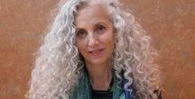 Great looks... long grey hair / Who says you should cut your hair when you get older? All of these women show how fabulous long grey hair can look! I particularly love the curls...