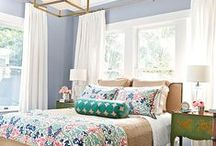Ideas for my bedroom re-do / Inspiration for redecorating my bedroom  --   colors  in varying shades of blue, lavender, aqua, pink and green.  Textiles and wall art.  Furniture to scale and maybe painted.  / by Mary Lindell