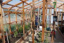 Serre - Construire une Serre en Bois Plan Étapes de Construction / Construire une Serre en bois recouverte de plastique: 1: Installer les ancrages au sol  2: Fixer la base de la serre aux ancrages  3: Construire les murs des côtés  4: Charpente avant et arrière de la serre   5: Installer la charpente du toit   6: Pose du film plastique de polyéthylène   7: Finition extérieure de la serre de jardin   8: Finition intérieure et teinture   9: Aménagements - Équipement de serre