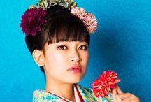 KIMONO / Hurisode Japanese coiffure Yukata