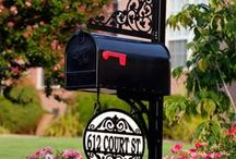Mailboxes and Posts / Personalized Mailboxes and Posts:  These decorative mailbox and posts are crafted one at a time and are personalized with your name or address.  There are several custom configurations available based on the options you choose.   Each picture shown below shows a unique configuration - the price of these custom mailbox and post combinations vary based on the design and options selected.