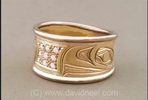 Gold Rings - Northwest Coast Indian / Rings by David Neel, Kwakiutl - gold, silver and platinum.  www.davidneel.com