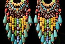 Jewelry - Earrings / A collection of earrings created by other talented jewelry artists from various materials including lampwork glass beads, gems, metals, cord and leathers. #artiseverywhere