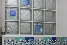 Glass Tile Blocks / Add a special touch with glass tile blocks. Whether you're looking to add color and light to a kitchen backsplash, shower wall or window - these blocks with fused glass tiles will add the decorative focal point for a room.