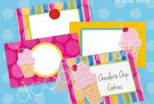 Sweet Ideas for an Ice Cream Party / Ideas and inspiration for planning a deliciously sweet Ice Cream Birthday Party! {party decorations • tips • food • pink •  feminine • stripes • polka dots • sweet shoppe • cherry • cone • cupcake toppers/party circles • banner • party signs • water/drink labels • buffet cards • favor tags • printable • digital}