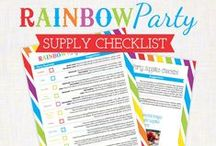 Bright Ideas for a Rainbow Party / Ideas and inspiration for planning a perfectly colorful Rainbow Birthday Party! {party decorations • tips • food • primary •  feminine • stripes • polka dots  • cupcake toppers/party circles • banner • party signs • water/drink labels • buffet cards • favor tags • printable • digital}