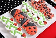 Pretty & Preppy Ladybug Party Ideas / Ideas and inspiration for planning a lovely Ladybug Birthday Party! {party decorations • tips • food • feminine • gingham • checked • polka dots • cupcake toppers/party circles • banner • party signs • water/drink labels • buffet cards • favor tags • printable • digital}