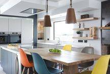 Statement Scheme / A modern kitchen designed by Dorans Kitchen & Home that helps introduce warmth, colour and texture into a family home.