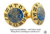 Cufflinks Zodiac Model - Elite & Luck Cufflinks / Elite & Luck Cufflinks Zodiac Model. Luxury Gemstone Sterling Silver Cufflinks that enhance your Elite, Luck, Love, Wealth, etc. Aries -- Red Agate Taurus -- Tiger's Eye Gemini -- Mother of Pearl Cancer -- Blue Chalcedony Leo -- Black Onyx Virgo -- Sodalite Libra -- Lapis Lazuli Scorpio -- Malachite Sagittarius -- Turquoise Capricorn -- Labradorite Aquarius -- White Agate Pisces -- Green Chrysoprase