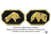 Cufflinks Bull & Bear Model - Elite & Luck Cufflinks / Elite & Luck Cufflinks Bull & Bear Model. Luxury Gemstone Sterling Silver Cufflinks that enhance your Elite, Luck, Love, Wealth, etc.