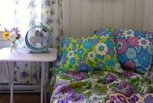 Retro Decor / Retro-inspired spaces that create a fun and uplifting feel. Creative use of fabrics, texture and color from reclaimed and upcycled items.