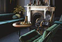 Housey stuff / Mid century, dark walls, white walls, plants a plenty, texture, layers and wall art