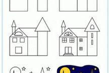 Draw house, flower / Hogyan rajzoljunk virágokat, fát házat gyerekekkel?