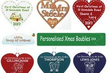 Personalised Christmas Bauble Decorations Ideas www.LittleShopOfWishes.co.uk / Fantastic personalised Christmas decorations ideas for your Xmas tree this year.  These are great if you're celebrating your first year as a couple, family, husband or  wife?  They can be completely personalised with your first names or surnames, or even your children and pets. Already have a heart or horseshoe given to you on your wedding day but want a mini version for the tree? These are great to add to your collection.  http://www.littleshopofwishes.co.uk/category/Christmas.html