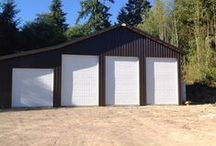 Garages / There's a garage-style pole building to fit any of your needs. Store your antique or race car, create a home business office, store your boat or RV or have that wood working shop you always wanted.