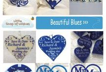 Blue Wedding Theme Ideas - www.LittleShopOfWishes.co.uk / Beautiful ideas for blue wedding themes, including personalised decorations, gifts and keepsakes.  Great for venue and table decorations.  Cake toppers, favour confetti and bridal horseshoes.  Ideal for Mr and Mrs, Mr and Mr or Mrs and Mrs Same Sex Gay Weddings or Civil Partnership.  Includes brilliant shades of blue, from pale blue, to bright royal blue, teal and navy.  www.LittleShopOfWishes.co.uk