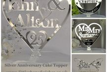 25th Silver Wedding Anniversary Gifts and Ideas / 25th Silver Wedding Anniversary Gift ideas for your parents and grandparents. Perfect for party venue and table decorations. Including Mum and Dad, Auntie and Uncle, Grandma and Grandad lucky horseshoes, heart cake toppers and table confetti decorations. All your gifts and keepsakes personalised just for you from Little Shop of Wishes. www.LittleShopOfWishes.co.uk