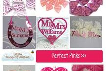 Pink Wedding Theme Ideas - www.LittleShopOfWishes.co.uk / Beautiful ideas for pink wedding themes, including personalised decorations, gifts and keepsakes.  Great for venue and table decorations.  Cake toppers, favour confetti and bridal horseshoes..  Ideal for Mr and Mrs, Mr and Mr or Mrs and Mrs Same Sex Gay Weddings or Civil Partnership.  Includes brilliant shades of pink, pale pink, baby pink, hot pink, bright pink, vintage rose pink, frosted pink.  www.LittleShopOfWishes.co.uk