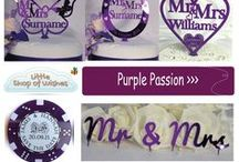 Purple Wedding Theme Decoration & Gift Ideas - www.LittleShopofWishes.co.uk / Need ideas for a Purple themed Wedding? Personalised cake toppers, bridal horseshoes, save the date hearts & poker chips as well as table & venue decorations & favours for your guests to takeaway to remember your big day.  You can add any text including Mr & Mrs, Mr & Mr or Mrs & Mrs for same sex gay weddings and civil partnerships. A perfect keepsake for the bride or groom to hold on to for years after.   All our gifts & keepsakes are personalised just for you from Little Shop of Wishes.