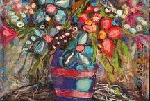 Fiber Artist- Laima Lupike / Latvia. Uses fibers, fabrics, trapped in soluble and stitched.