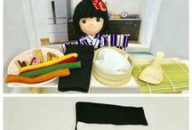 ちりめん細工 / 日本の伝統手工芸品、ちりめん細工。フェルトとはまた違う温かみがあると思います。