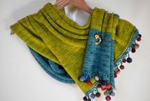 Knitted Scarves, Shawls and Wraps / Hand Spun scarves ans shawls, contrmporary.