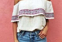 Off shoulder & Embroidered Tops / Blusen & Tops im Boho - Hippie Style