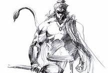 Hanuman - Pencil / Drawings of Hanuman in pencil  Artwork by Petr Budil [ Pritam ]  www.hanuman.today