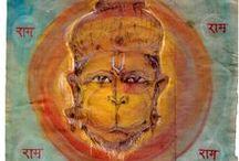 Hanuman - Watercolor / Colored drawings of Hanuman  Artwork by Petr Budil [ Pritam ]  www.hanuman.today www.facebook.com/hanuman.today