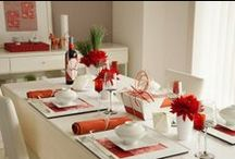 """interior: """"Red"""" Table Setting Decorations / 赤をアクセントにしたテーブルコーディネート、器、料理の盛り付け"""