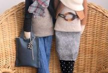 craft: Handmade dolls - made by agah / ファブリックドール・フェルト雑貨 参考ファッション