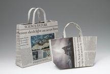 craft: 新聞エコバッグ newspaper bags / 新聞紙、広告紙、マガジン、包装紙等で作るエコバッグ 参考作品