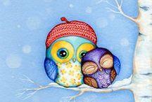 Owls / big owls, little owls, lonly owls, happy owls, strange owls,  owls, owls every where