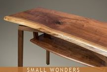 Small Wonders - Consoles / Sometimes you want just a little extra - a little extra table space, one more convenient draw, or a little splash of style. At Sawbridge Studios we have a diverse selection of handcrafted console tables with ample personality yet trim proportions.  Take home a one-of-a-kind beauty today from our gallery or custom order for that hard-to-fit space.  Treat yourself to that little something extra that will make every day better!
