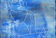 Theresa Stifel's Thread Sketches / Theresa new clean portraits combining color and stitch.